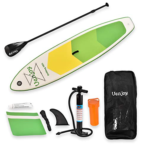 Uenjoy Inflatable Stand Up Paddle Board 6 Inches Thick Non-Slip Deck Adjustable Paddle Backpack,Pump, Repairing kit