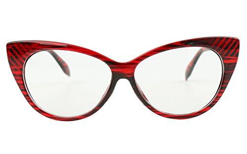 Beison Vintage Cateye Optical Eyeglasses Frame Plain Glasses Clear Lens (Wine red, 54mm)