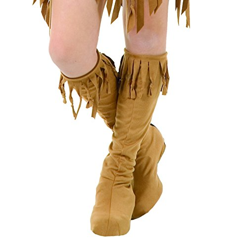 Indian Costumes Boots (Charades Adult Indian Maiden Costume Boots, Tan, Medium/Large)