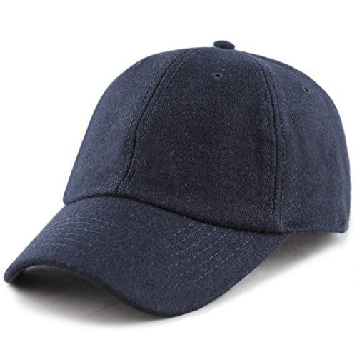 Grey Wool Hat - The Hat Depot Unisex Wool Blend Baseball Cap Hat (Navy)