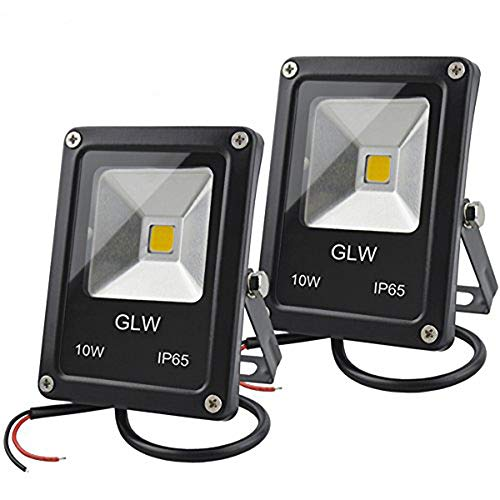 GLW 12V AC or DC LED Flood Light,10W Mini IP65 Waterproof Outdoor Light,900LM,3000K,Warm White Security Light,80W Halogen Bulb Equivalent[2 Pack]