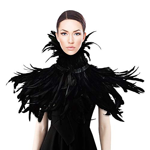 Homelix Gothic Black Natural Feather Cape Shawl with Choker Collar (Style 3),One Size -