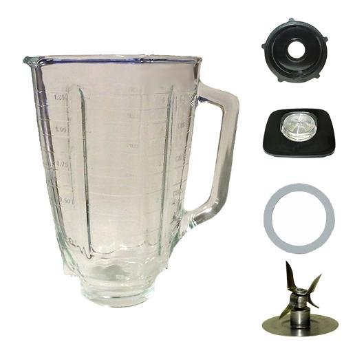Blendin 5 Cup Square Top Glass Jar Assembly With Blade,Gasket,Base, and Lid. Fits Oster Blenders (Parts Square)