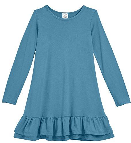 City Threads Little Girls' Cotton Jersey Long Sleeve A-Line Ruffle Hem Dress For School Play or Fun, Teal, 5