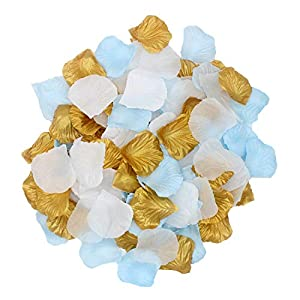 2NDTONONE Boys Baby Shower Birthday Decorations White Blue Gold Silk Rose Petals Artificial Flower Petals Table Scatter Aisle Runner Wedding Gender Reveal Party Decoration 29