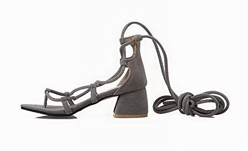 Lace Toe Women Gray up Open VogueZone009 Solid Frosted Heels Kitten Sandals wqIxOWd5a