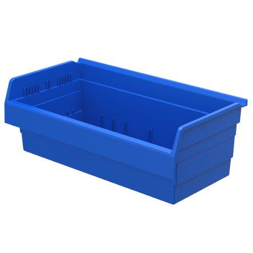 Akro-Mils 30820 ShelfMax 8 Plastic Nesting Shelf Bin Box, 12-Inch x 22-Inch x 8-Inch, Blue, 4-Pack by Akro-Mils