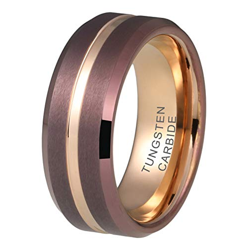 iTungsten 8mm Coffe Brown Tungsten Carbide Rings for Men Women Rose Gold Wedding Bands Beveled Edges Matte Finish Comfort Fit ()
