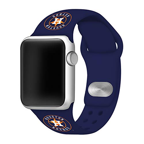GAME TIME Houston Astros Silicone Sport Band Compatible with Apple Watch 42mm/44mm Navy Blue ()