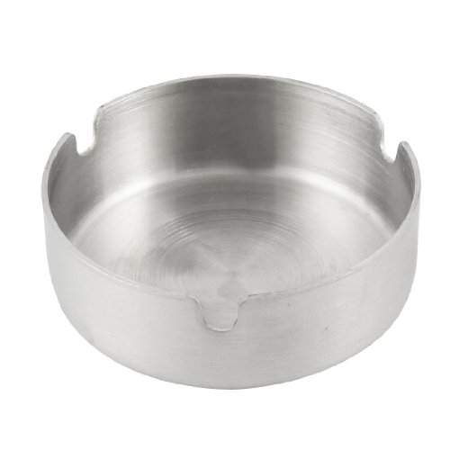 uxcell Water and Wood Home Silver Tone Round Cigarette Ashtray (Stainless Steel Ashtray compare prices)