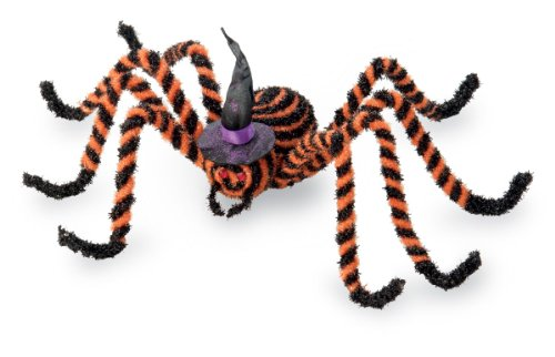October Hill Orange and Black Spider with Purple Witch Hat Halloween Decoration, (Black And Orange Spider)