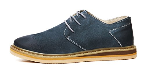 TDA Mens Fashion All Match Leather Working Leisure Oxford Shoes Peacock Blue 5LXtpXkrM