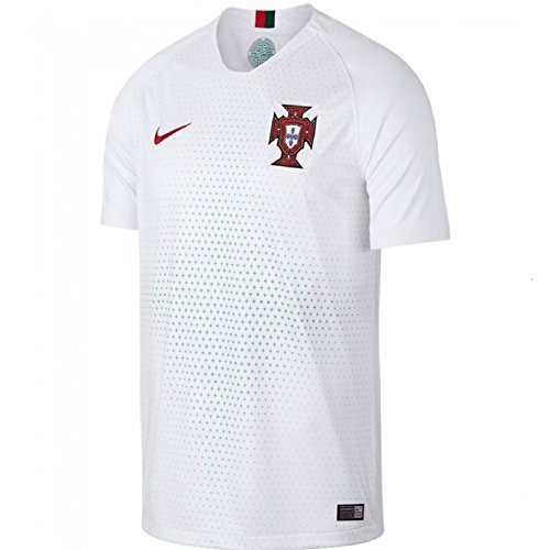 NIKE 2018 Mens Portugal Away Stadium Jersey Large (White/Mint Green/Red) (Portugal Replica Jersey)