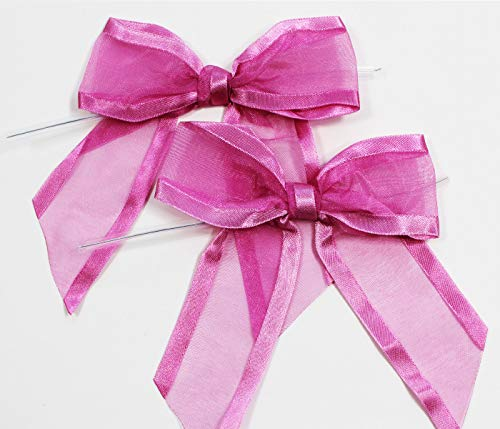 Hot Pink Pre-Tied Organza Bows with Twist Ties. Pack of 12 Satin-Edged Fabric Bows Made of 1-1/2