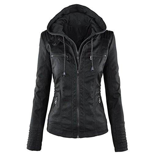 E.JAN1ST Women's Hooded Jacket Faux Leather Panelled Everyday Moto Bomber Jacket, Black, TagsizeM=USsizeS