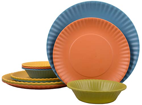 Melange 12-Piece Melamine Dinnerware Set (Paper Plate Collection) | Shatter-Proof and Chip-Resistant Melamine Plates and Bowls | Color: Multicolor | Dinner Plate, Salad Plate & Soup Bowl (4 Each)