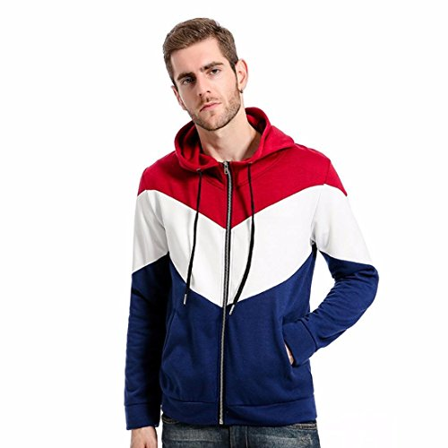 AMSKY Men's Hoodies,Boy Autumn Winter Causal Patchwork Slim Sweater Hooded Sweatshirt Full-Zip Tops Blouse with Pocket (2XL, Red) by AMSKY
