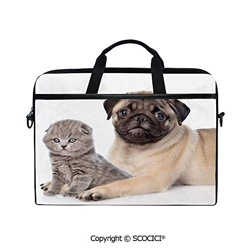 Mobile Edge Select Leather - Customized Printed Laptop Bag Notebook Handbag Cute Young Pets Kitten and Puppy Pug Scottish Fold Animal Fun Photography Print Decorative 15