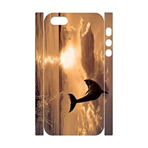 3D Bumper Plastic Customized Case Of Dolphin for iPhone 5,5S
