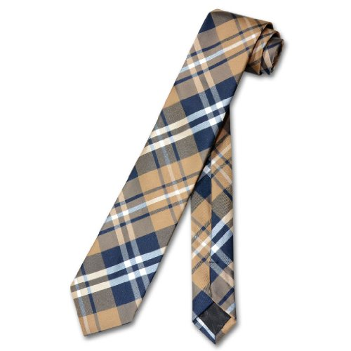 w NeckTie Skinny Navy Brown White PLAID Men's 2.5