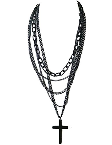 OVERMAL Fashion Retro Multi-layer Chains Pendant Black Cross Metal Long Necklace
