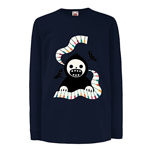 T-Shirt for Kids Halloween Horror Nights - The Death is Playing on Piano - Cool Scarry Design (7-8 Years Blue Multi Color)]()