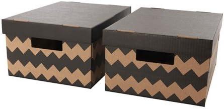 Ikea PINGLA - Cajas con Tapa, 28 x 37 x 18 cm, 2 Unidades, Color Negro y Natural: Amazon.es: Hogar