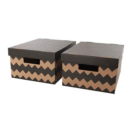 Ikea pingla Cajas Con Tapa; en negro y beige; (28 x 37 x