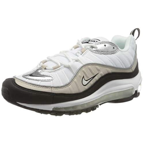 chollos oferta descuentos barato Nike W Air MAX 98 Zapatillas para Correr para Mujer White Metallic Silver Desert Sand Black 44 EU