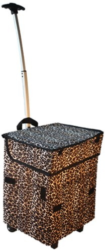 Scrapbooking Totes Organizers (Smart Cart, Leopard Rolling Multipurpose Collapsible Basket Cart Scrapbooking)
