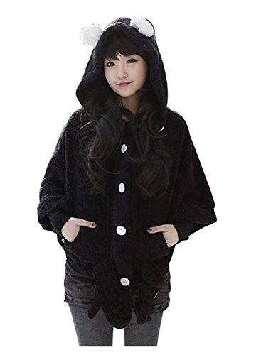 King Ma Kawaii Animal Panda Bear Ear Fleece Hoodie Cloak Jacket Coat (Black)