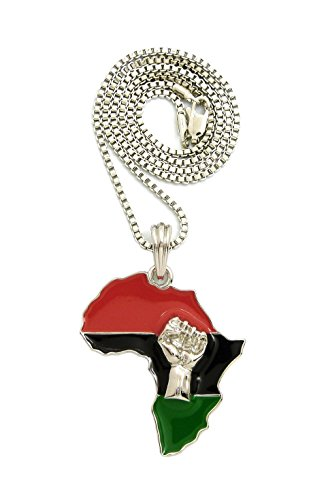 NYFASHION101 Power Fist on Pan Africa Continent Pendant with 2mm 24'' Box Chain Necklace, Silver-Tone by NYFASHION101