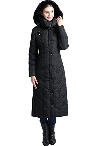 BGSD Women's Lacey Water Resistant Maxi Down Coat - Black S
