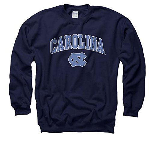 Campus Colors North Carolina Tar Heels Adult Arch & Logo Gameday Crewneck Sweatshirt - Navy, Large