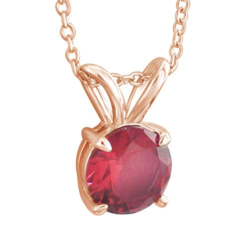 Trillion Jewels 1ct Created Garnet Solitaire Pendant Necklace with 18 Inch Chain (Yellow-Gold-Plated-Silver) ()