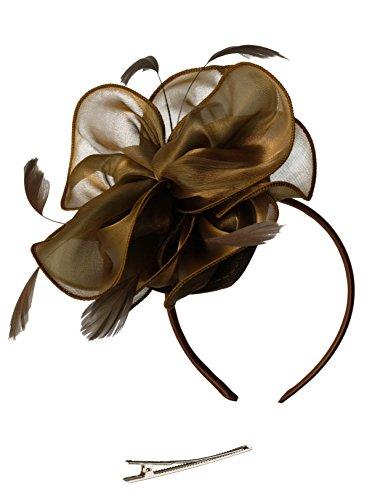 Fascinators Hat for Women Tea Party Headband Kentucky Derby Wedding Cocktail Flower Mesh Feathers Hair Clip ()