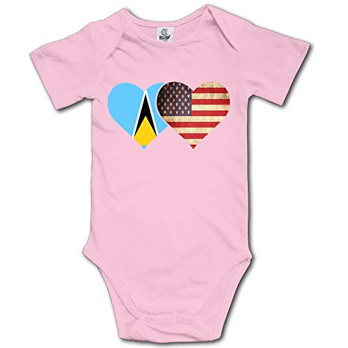 (Yoigng Babys Bodysuit Saint Lucia Flag and American Flag One-Piece Climbing Clothes Jumpsuit)