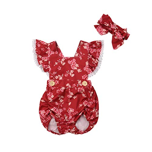 Meipitgy Toddler Baby Girls' Floral Lace Ruffles Sleeve Bodysuit Jumpsuit Sunsuit Clothes Size 0-24M (6-12 Months, Wine Red) ()