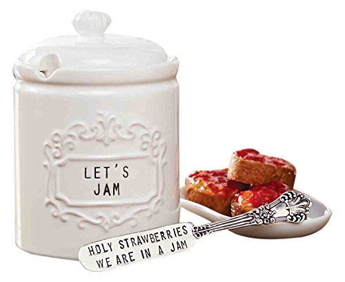 Mud Pie 4771003 Vintage Ceramic Jam Jar Set with Spreader, White (Mud Pie Strawberry compare prices)