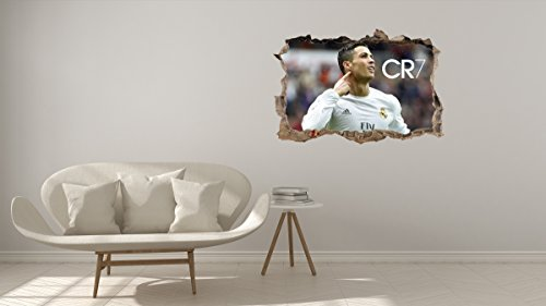 Cristiano Ronaldo CR7 Real Madrid 3D Effect - Brake Wall Effect 3D - Wall Decal For Room Boys Girls Unisex ((Wide 18''x12'' Heigh))