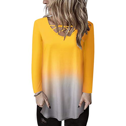 Xinantime Womens Gradient T Shirt Long Sleeve Knot Shirts Front Cross Tunic Loose Blouse Tops Yellow