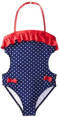 Jantzen Big Girls'  Americana Bow One-Piece Swimsuit, Blue, 8