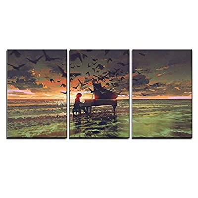 Illustration Digital Art of The Man Playing Piano Among Crowd of Birds on The Beach x3 Panels, Professional Creation, Gorgeous Object of Art