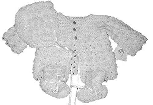 Connie's Kids Unisex Hand Crocheted Baby Sweater, Booties, & Cap Set White