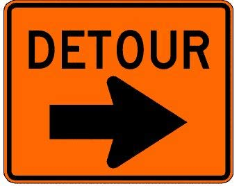 Detour with Right Turn Arrow Traffic Sign 30 inch x 24 inch HI Sheeting .080 Aluminum: MUTCD M4-9R