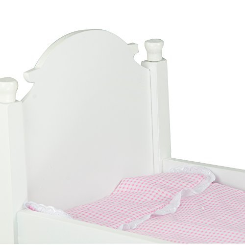"""18"""" Doll Furniture, Sweet Girl Single Wooden Bed with Pink Polka Mettress, White"""