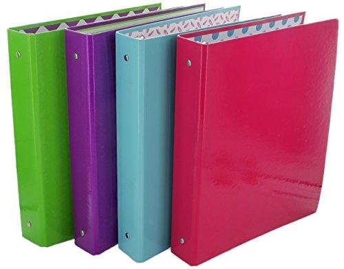 Cardboard 3 Ring Binder (Emraw Neons 3-Ring Binder 1.5-Inch – Used for Papers, Loose-Leafs, Business Cards, Compact Discs, Etc - Colors Included: Pink, Purple, Green and Blue (4-Pack))