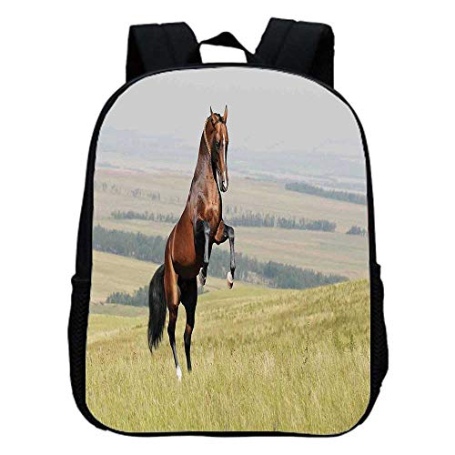 Horses Fashion Kindergarten Shoulder Bag,Bay Akhal Teke Horse Stallion Rearing on the Field Noble Mammal Outdoors Pastoral For Hiking,One_Size