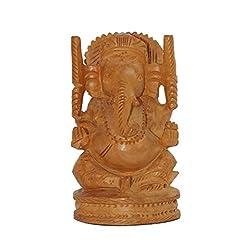Dessa Collections Handicraft Decorative Wooden Ganesh Statue - Hand Carved - Lord Ganesha Wood Sculpture Elephant Hindu Deity God Figurine