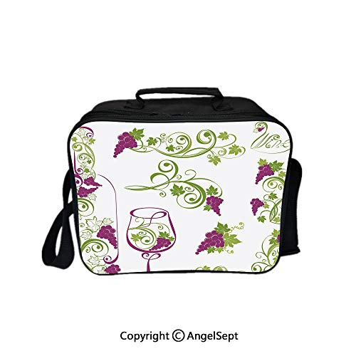 Fashion Custom Lunch Bag Tote Bag,Wine Bottle and Glass Grapevines Lettering with Swirled Branches Lines Decorative Purple Lime Green White 8.3inch,Lunch Organizer Lunch Holder For Unisex Adults